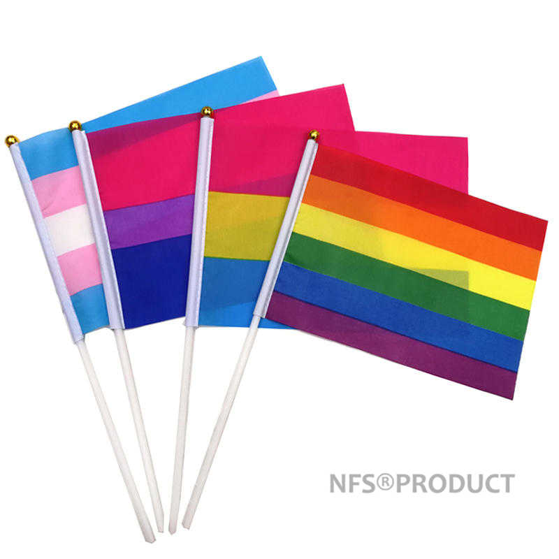 Радужный ручной флаг ЛГБТ, гей-Прайд 14x21 см полиэфирные печатные бисерные танgender пансекционные флаги и баннеры с флагом палки