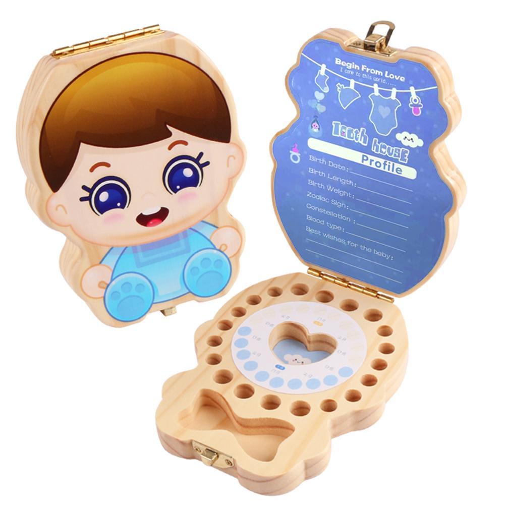 Baby Wood Tooth Box Organizer Spanish English Teeth Storage Collect For Boys Girls Umbilical Save Keepsake Souvenir