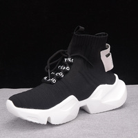 Dropshipping Autumn High top Platform Sneakers Women Knitted Casual Shoes Woman White Black Sneakers Air Mesh Chunky Trainers