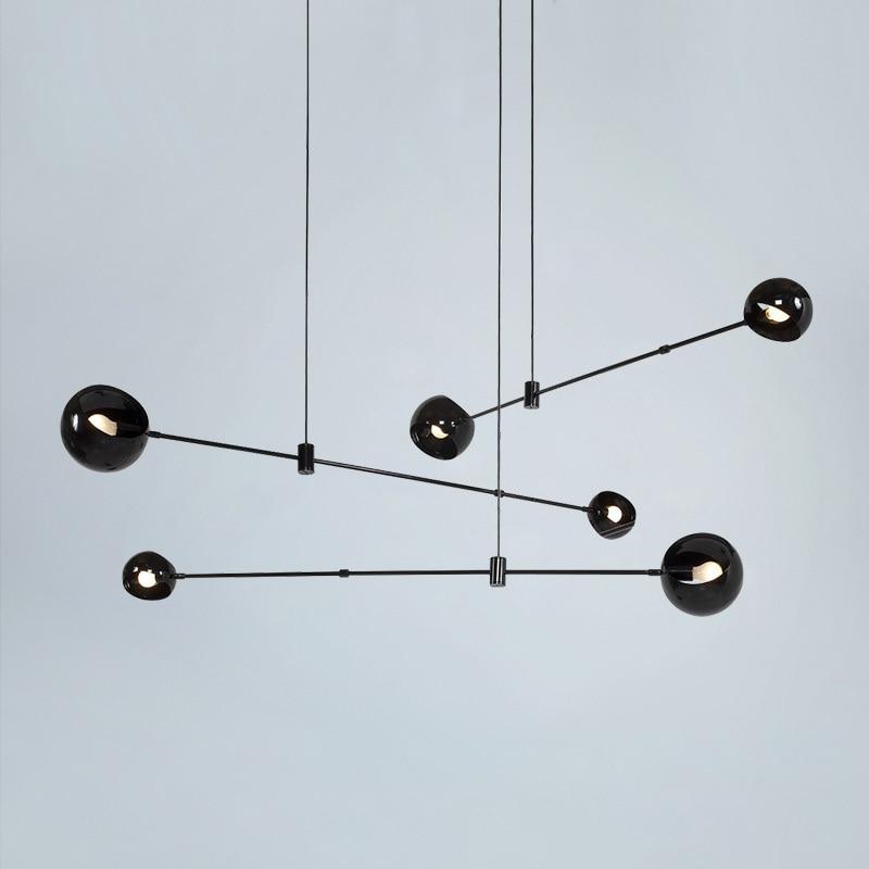 Nordic Simple Tremble Led Pendant Lighting Multi Head American Iron Hanging Lights European Restaurant Lights Luminaria