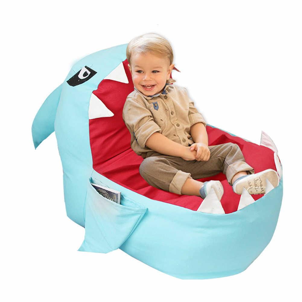 대용량 만화 상어 모양 콩 가방 어린이 장난감 의류 스토리지 상어 어린이 플러시 장난감 스토리지 가방 게으른 소파 의자