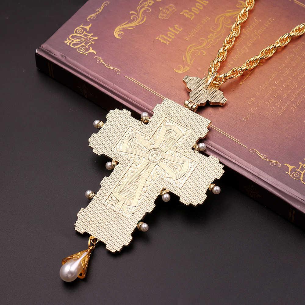 Darmowa wysyłka papież franciszek klatki piersiowej krzyż prawosławny krzyż naszyjnik religijny jezus ikona Metal jest inkrustowane z krucyfiksem