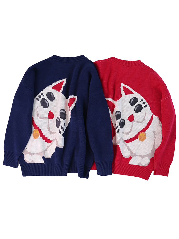 WHOHOLL Men Woman O-Neck Pullovers Sweater Couple Autumn Cat Print Knitted Top Lover Casual Korean Streetwear 2019 Sweaters