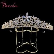 Sparkling Full Cubic Zircon Bride Wedding Tiaras for Women Princess CZ Crown Diadem Wedding Headwear Hair Decorations RE3216