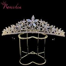 スパークリングフル立方ジルコン花嫁の結婚式のティアラのための cz 王冠王冠結婚式の帽子の毛の装飾 RE3216