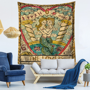 Image 2 - Tarot Card Old Vintage Tapestry Witchcraft Astrology Star Moon Goddess Sea Nymph Mermaid Bed Decoration Blanket Wall Cloth