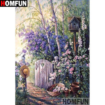 "HOMFUN 5D Diamond Embroidery Needlework Kit ""Beautiful scenery flower"" Diamond Painting Cross Stitch Home Decoration Gift A27829"