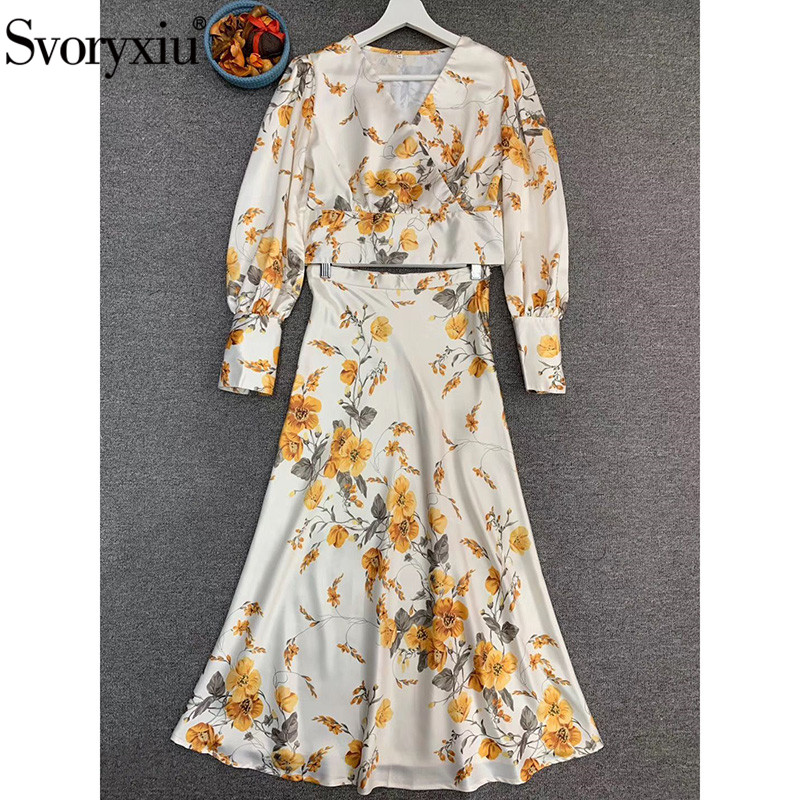 Svoryxiu 2020 New Designer Summer Satin Flower Print Skirt Suit Women's Sexy V-Neck Lantern Sleeve Tpo + Midi Skirt Twinset