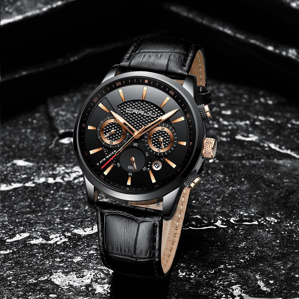CRRJU, nuevos relojes de moda para hombre, relojes de pulsera analógicos de cuarzo, cronógrafo resistente al agua de 30M, reloj deportivo con fecha Relojes De Correa De Cuero para hombre 17