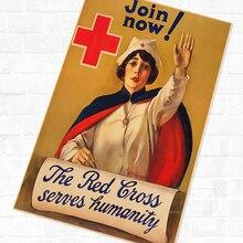 Cruz Roja historia de reclutamiento WWI WW1 Propaganda Retro Vintage de póster de lona DIY pegatinas de pared pósteres casa Decoración Para bar