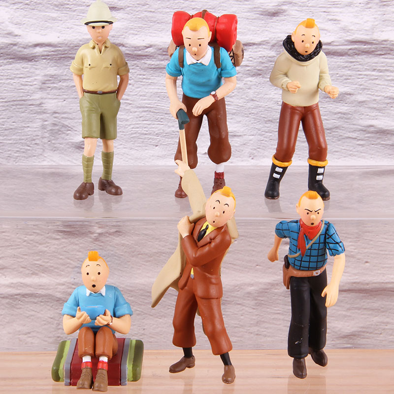 Tin las aventuras de Tintin PVC figura de acción coleccionable clásico Anime juguetes modelo de dibujos animados 6 unids/set 12 juntas móviles ojos 3D muñecas chinas juguetes con accesorios ropa y joyería figura de disfraz Nake Muñeca China juguete para niñas