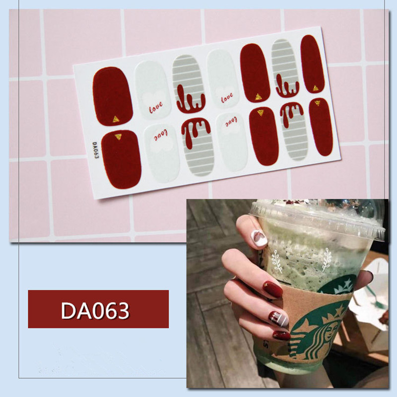Hot Sale 14 Tips Nail Strips Colorful Nail Art Sticker Beauty Nails DIY Manicure Slider Nail Vinyls Adhesive Decals DA034 DA064 in Stickers Decals from Beauty Health