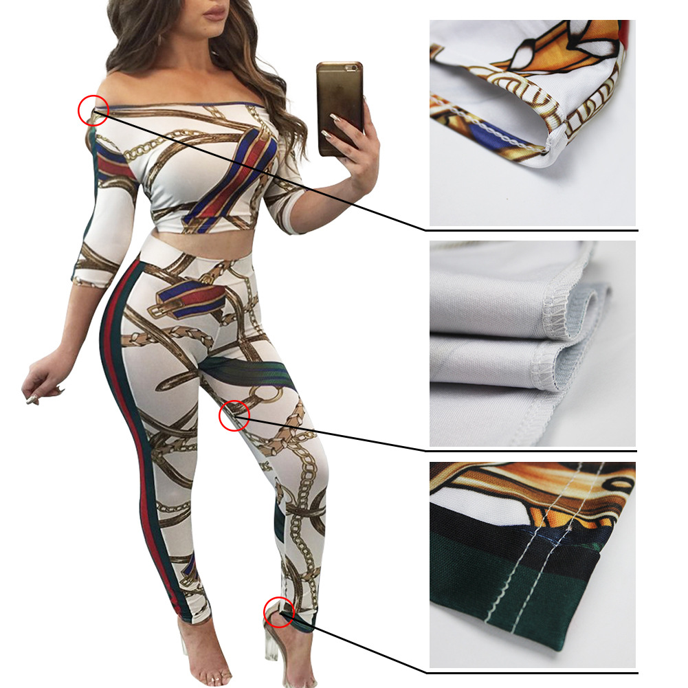 Fashion Sexy Europe And America Gold Iron Chain Printed Shirt Two-Piece Set Zhigong Leisure Suit