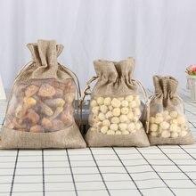 5 шт.% 2 флота органза джут сумки мешковина шнурок сумка свадьба вечеринка сувениры подарок сумки кофе фасоль конфеты макияж ювелирные изделия упаковка