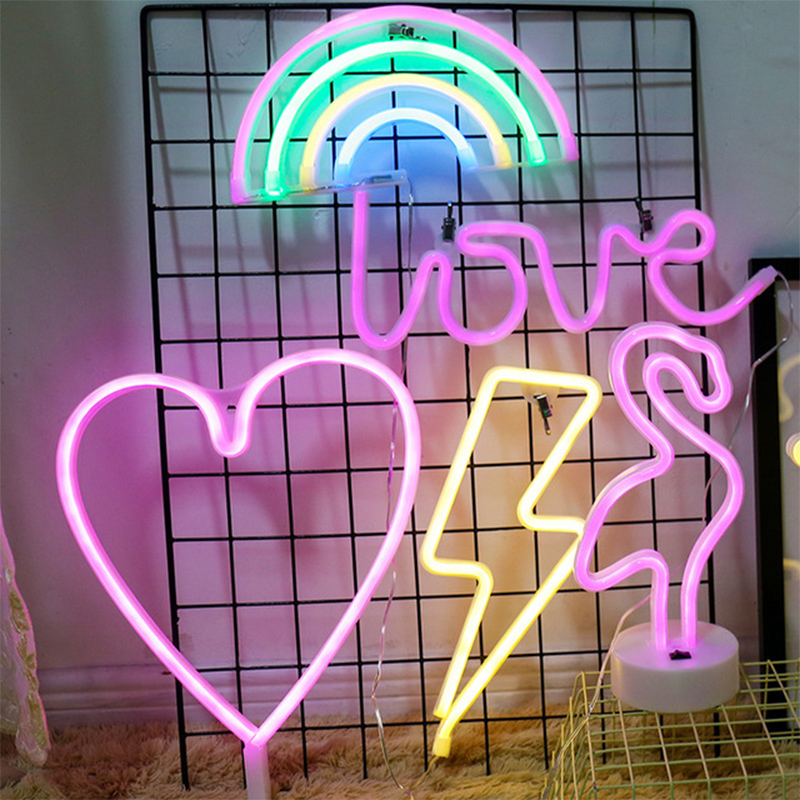 Led Novelty Style Lamp Cactus Rainbow Lightning Neon Clouds Lips Words Lights Photography Background Decoration