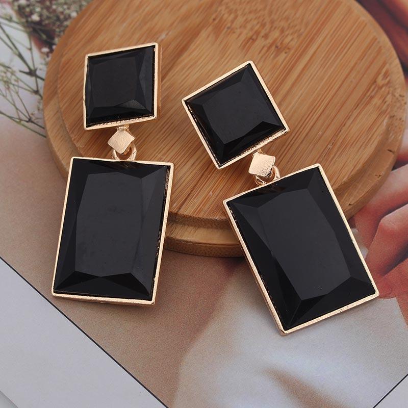 Женские квадратные серьги-подвески, большие серьги синего, черного или золотого цвета с геометрическим узором, эффектные украшения в стиле ...