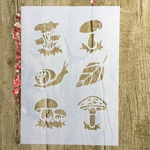 A4 29 * 21cm Snail mushroom DIY Stencils Wall Painting Scrapbook Coloring Embossing Album Decorative Paper Card Template