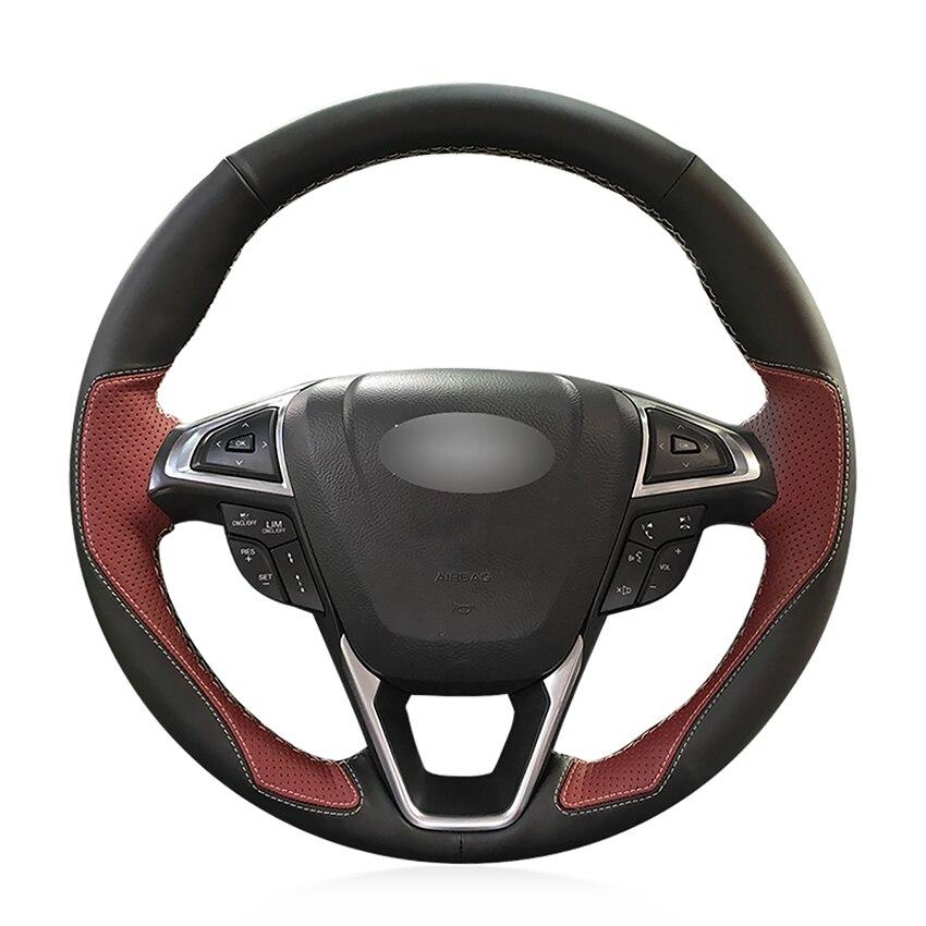Couvre-volant de voiture souple antidérapant en cuir noir vin rouge cousu à la main pour Ford Mondeo Fusion 2013-2019 EDGE 2015-2019