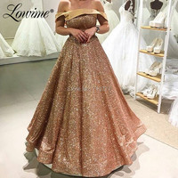 Prom Dresses Boat Neck Glitter Wedding Party Dress Custom Made Formal Evening Gowns Robe De Kaftan Dubai Middle East Women Dress