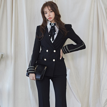 Fashion Business Pant Suits Uniform Formal Double Breasted Blazer Jacket and Long Pant Blazer Sets OL Women 2 Pieces Set Outfits uniform business pant suits formal jacket and pant blazer set women office lady 2 two pieces suits uniform ka1089