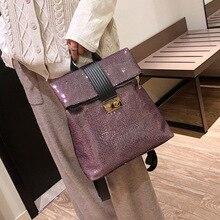 Buckle backpack womens new European and American high-capacity fashion travel leisure Joker bag  women