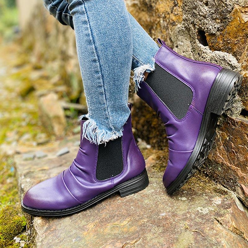 Women Chelsea Boots Ladies PU Leather Vintage Short Boot Casual Slip On Shoes Woman Low Heels Non Slip Female Autumn Plus Size