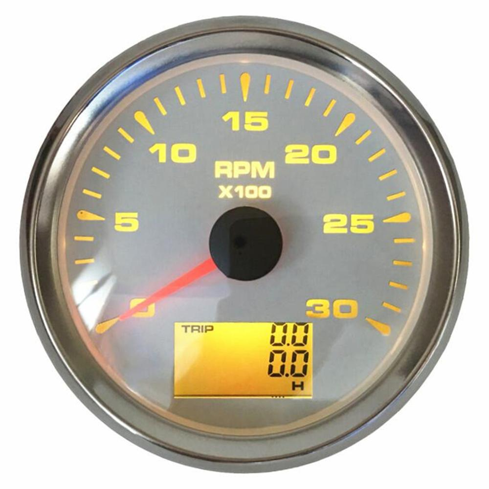 1pc 85mm 0-3000 tr/min tachymètre marin jauges Lcd révolution mètres avec heure de voyage mètres tr/min 0-300 rapport de vitesse 8 types rétro-éclairage