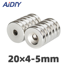 aidiy 5/20/50 pcs 20x4mm Hole 5mm N35 Super strong ring countersunk magnets  permanent neodymium magnet