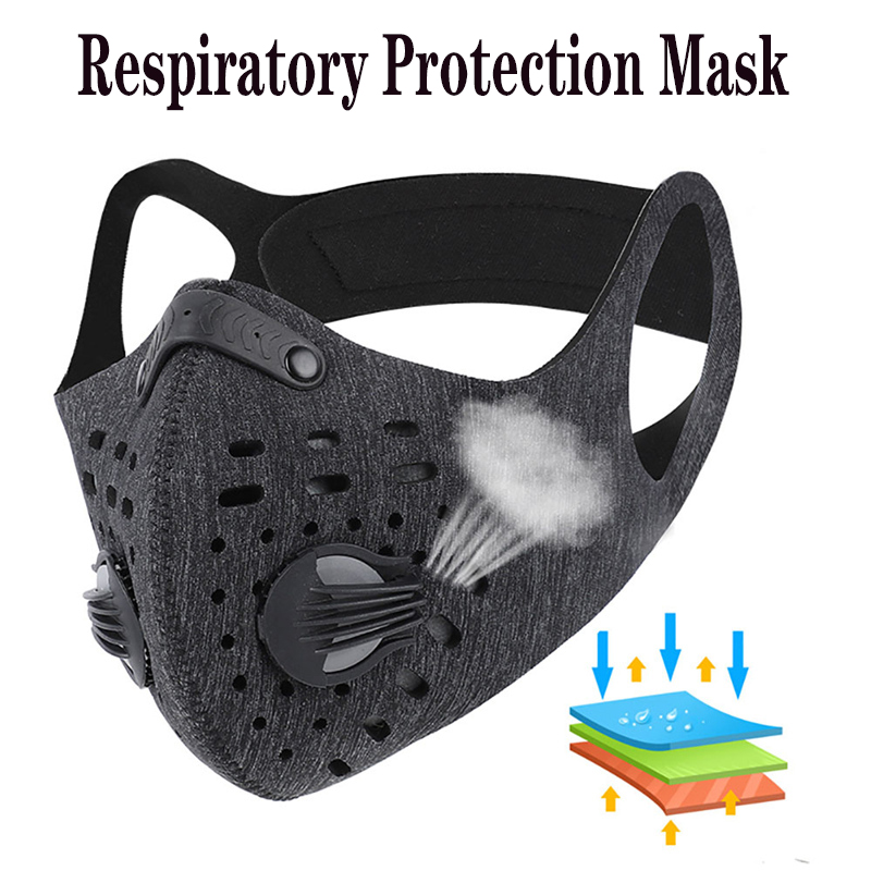 2Pcs Masque Anti Dust Cycling Masks Pollution Mask Air Filter Activated Carbon PM25 Mouth Face Mask With Replaceable Filter Pads