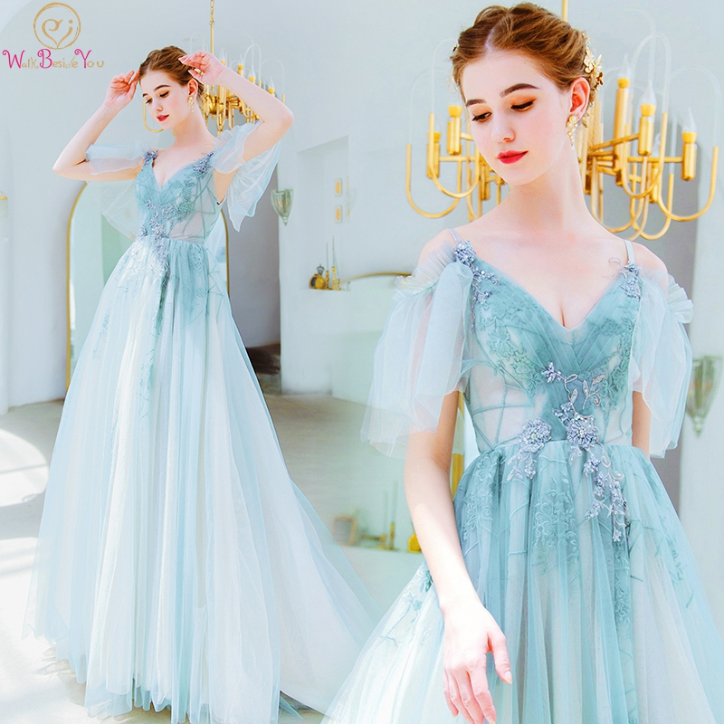 Green Prom Dresses 2019 Vestido Graduacion Largo Beaded Sequined Tulle Off Shoulder Spaghetti Strap Transparent A Line Evening