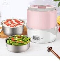 Портативная мини-рисоварка 220 В, многофункциональная пищевая пароварка, обеденная нагревательная коробка, 2 цвета, легко использовать