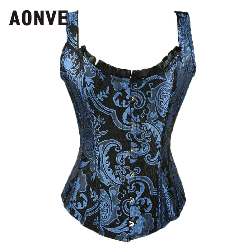 Aonve Blue   Corset   Tops Overbust Steampunk   Bustiers   Vintage   Corset   Goth Steel Boned   Corsets   Female Sexy Costume