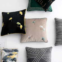 Simple Modern Luxury Pillow Cover Ginkgo biloba Embroidered Throw Cushion Cover Living Room Sofa Lumbar Pillowcase Home Decor цены