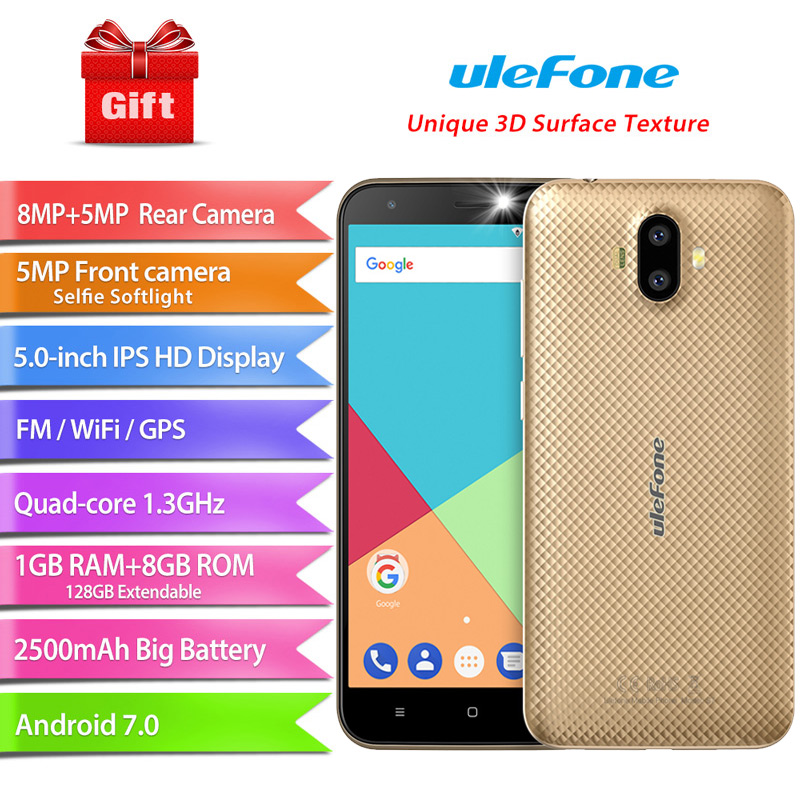 Ulefone S7 Dual Rear Cameras Android 7.0 <font><b>MTK6580A</b></font> Quad Core 5.0''HD 8MP 1GB RAM 8GB ROM 2500mAh 3G WCDMA Mobile Phone image
