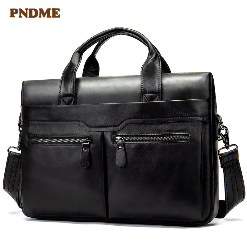PNDME Casual Simple Black Multi-pocket Genuine Leather Men's Briefcase Business High Quality Soft Cowhide Laptop Shoulder Bag
