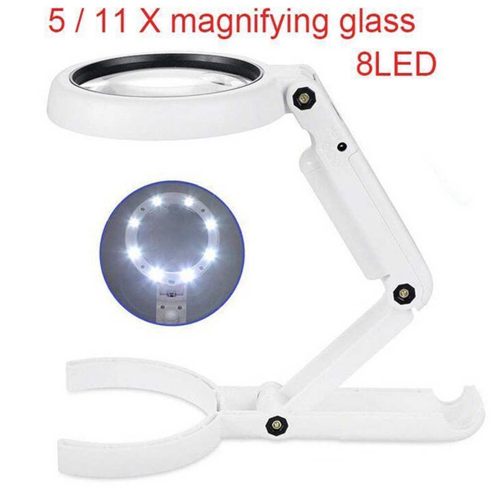 مصباح الطاولة الاستخدام المزدوج 5/11X عدسة مكبرة السوبر مشرق 8 LED مصادقة المجوهرات عدم الانزلاق باليد عقد بسيط المنزل حامل إصلاح