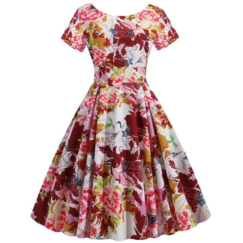 Summer Floral Print Elegant A-line Party Dress Women Slim White Short Sleeve Swing Pin up Vintage Dresses Plus Size Robe Femme 73