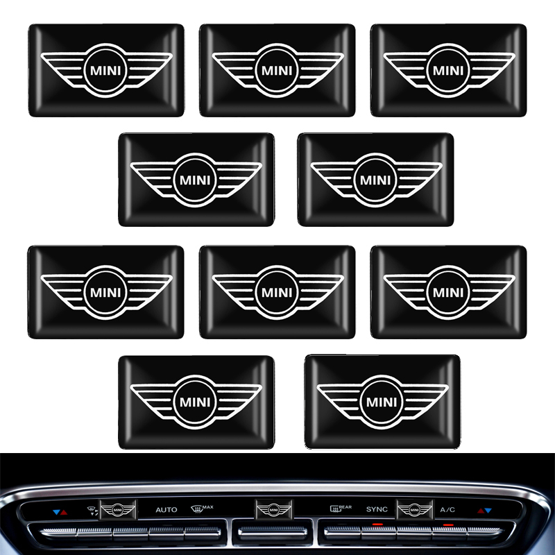 10pcs Steering Wheel 3D Car Sticker Flags Emblem Decal Decorating For Mini COOPER S R50 R53 R56 R60 F55 F56 R57 Accessories