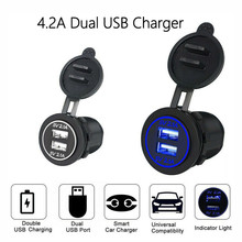цена на 12V-24V LED Dual USB Socket Mount Charger Power Adapter Z2 Rovtop Car Dual USB Charger Cover for Motorcycle Auto Truck ATV Boat