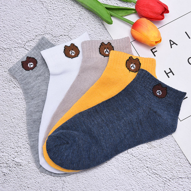 Cartoon Bear Cotton Short Sock Solid Color Shallow Mouth Absorb Sweat Breathable Comfortable Women Short Sock