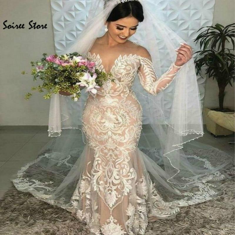 Champagne Wedding Dresses Boho Elegant Lace Mermaid Wedding Dress Illusion Neck Long Sleeves Country Garden Bridal Gowns 2020