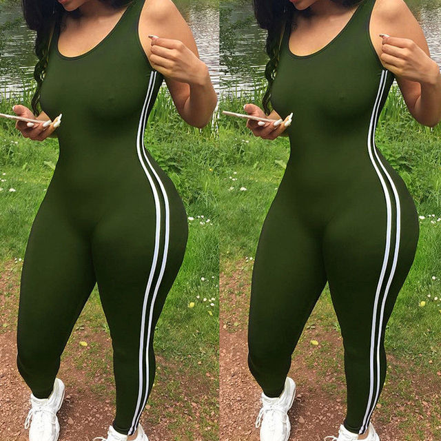 Sexy Women Yoga Jumpsuit Sports Gym Running Fitness Legging Pants Athletic Sleeveless Romper Tracksuit Workout Clothes 2