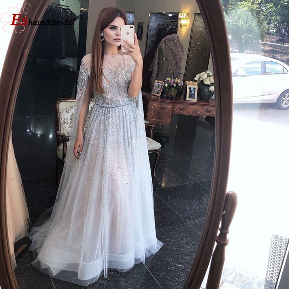 Elegant Evening Dress for Women 2020 Long Sleeves Dubai O Neck A Line Luxury Crystal Handmade Tuttle Arabic Formal Party Gowns