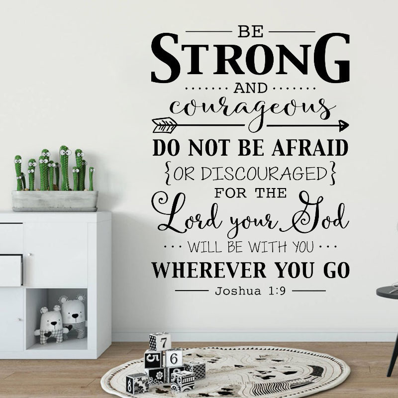 Be Strong and Courageous Wall Decal Quote Bible Verse Christian Wall Decor Stickers Joshua 1:9 Decal for Kids Rooms A184 image