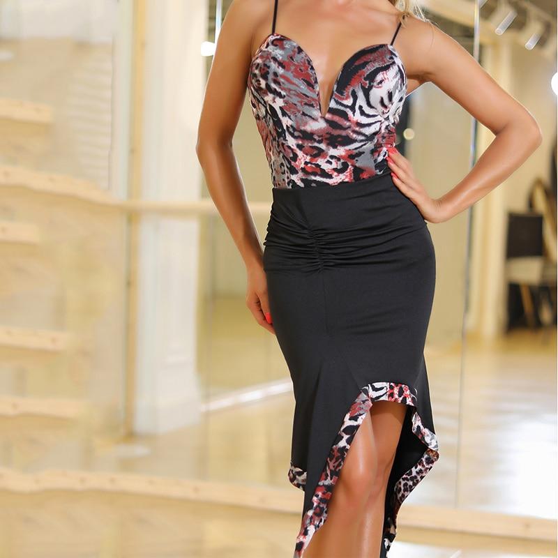 Latin Skirts Lady Black Irregular Skirt Female Cha Cha Tango Salsa Samba Rumba Women Lain Dance Dress Performance Wear DQS2735