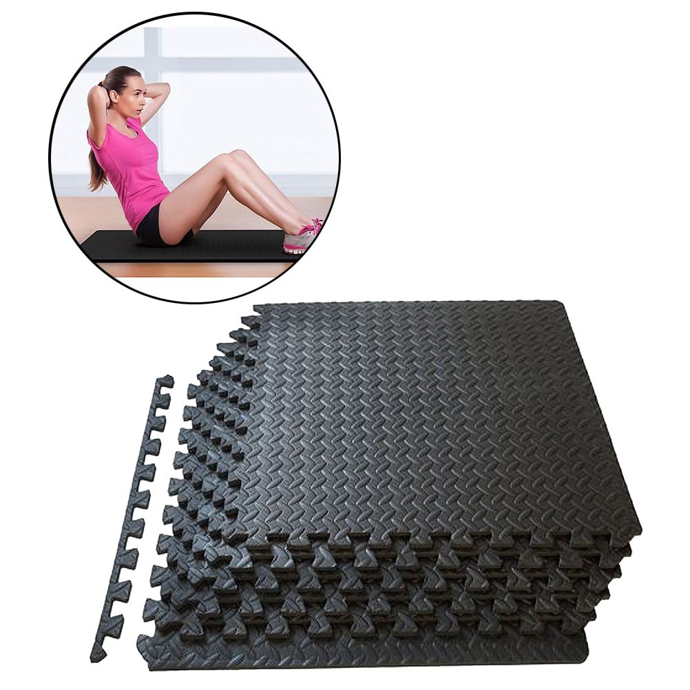 12pcs EVA Foam Leaf Grain Tiles Non-Slip Mat Yoga Mat Interlocking Tiles Floor Protective Cushion Room Workout Fitness Equipment