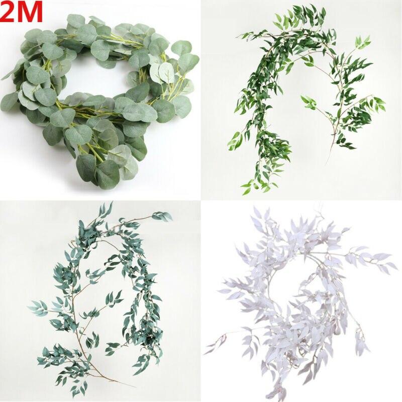 200cm Artificial Fake Eucalyptus Garland Long Leaf Plants Vine Greenery Foliage Table Home Decor Wedding Party Decoration