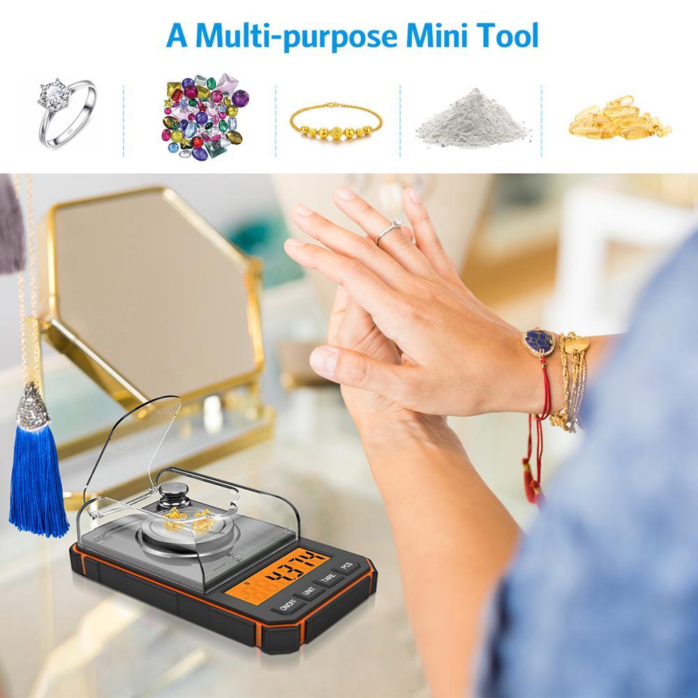 0.001g Digital Scale Portable Mini Scale Precise Graduation Professional Pocket Scale Milligram 50g Calibration Weights Tweezer 6