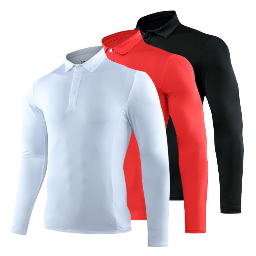 Polyester Golf Long Sleeve Shirts Man Golf Clothes Gymnastics Running Shirt Golf Wear Quick Dry Breathable Cycling Sports Shirt