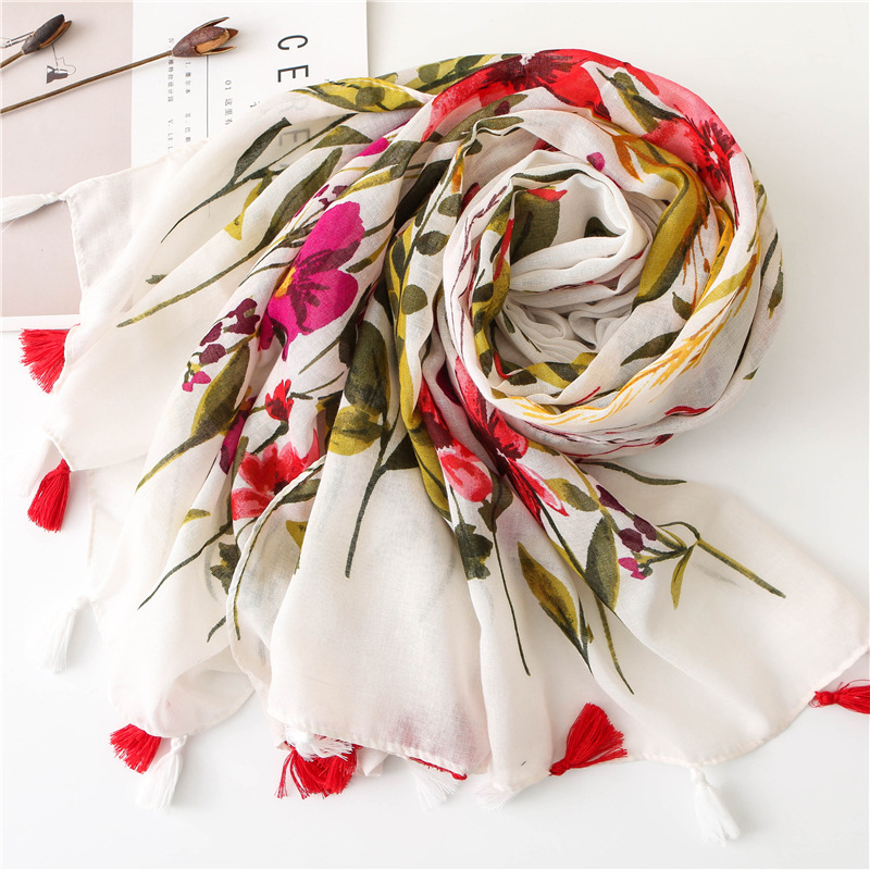 New Winter Scarf for Women National Style Fringes Viscose Ladies Floral Shawls Cotton Linen Scarves Ladies Foulard Muslim Hijabs